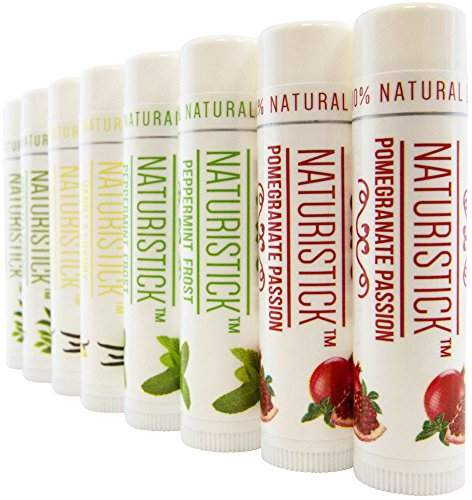 8 Pack Lip Balm Gift Set By Naturistick. Assorted Flavors. 100% Natural Ingredients. Best Beeswax Ch