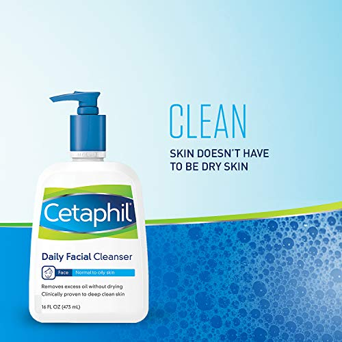 Cetaphil Facial Cleanser, Daily Face Wash For Normal To Oily Skin, 16oz (2 Pack)