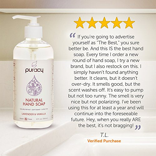 Puracy Natural Liquid Hand Soap, Lavender & Vanilla, Moisturizing Gel Hand Wash, 12 Ounce (4 Pack)