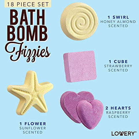 Father's Day Gifts, Bath Bombs Gift Set For Women â?? 17 Large Bath Fizzies In Assorted Colors, Shap