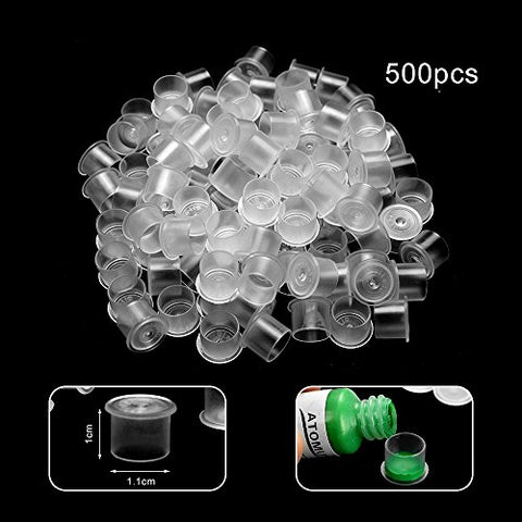 Tattoo Ink Caps Small, 500PCS Disposable Plastic Tattoo Ink Cups Pigment Ink Caps for Tattooing size small (500pcs)