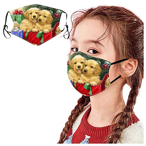 ?US Stock? Kids Face_Masks Warm Outdoor Face Bandanas Cute Christmas Animals Cat Dog Print Face Balaclava Reusable Washable Face_Coverings for Kids Outdoor Back to School