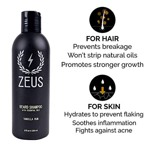ZEUS Beard Shampoo and Beard Conditioner Set for Men - (8 oz. Bottles) (Scent: Vanilla Rum)
