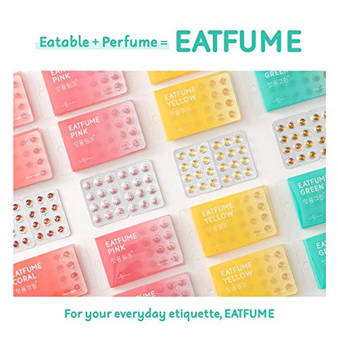 EATFUME Breath Freshener - Vegetarian capsules for mouth and gut, Individual Pack | Bad Mask Breath Saver with Natural Fruity Peppermint, Rosemary, Lemon Oils (4 Flavors, 0.6oz) (Peach)