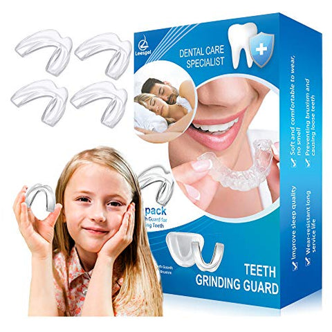 Kids Mouth Guard for Grinding Teeth, Pack of 4 Night sleep Teeth Guards, Eliminates TMJ & Teeth Clenching, Stops Bruxism, Teeth Whitening Tray, Sport Athletic Mouth Guard (kid Size only fit for kids)