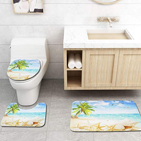TOPBATHY Set of 3pcs Toilet Mat Set Printing Coconut Trees Pattern Antiskid Contour Mat Rug Carpet Toilet Seat Lid Cover Pad for Home Summer Beach Holiday Hotel Bath Decor
