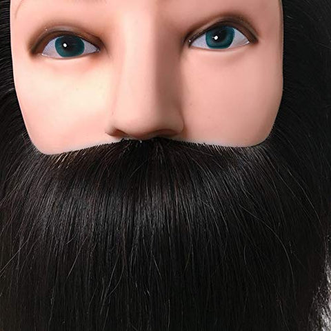 100% Real Human Hair Male Cosmetology Mannequin Manikin Head with Beard for Barber Hairdressing Trainning and Practice Head