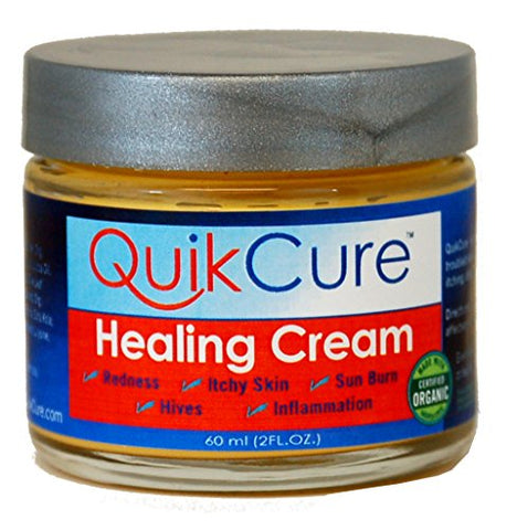 QuiKCure Natural Healing Cream from Essona Organics. 2 oz. jar.