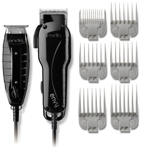 Andis Professional Stylist Clipper and Trimmer Combo Kit, High Speed Whisper Quiet Magnetic Motors with Ergonomic Design, Bonus Free Cube Hard Travel Case Included
