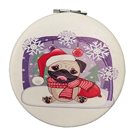 Pug Dog Christmas Compact Mirror - Stocking Stuffer Gift for Women and Girls 2.75