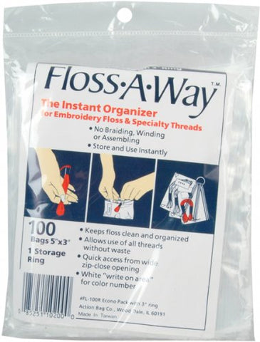 Action Bag Floss-A-Way Organizer, 3 by 5-Inch, 100-Pack