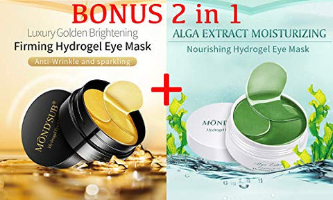 Eye Patches - Gold Eye Gel Patch (30 pairs) - Alga extract Eye Gel Patch (30 pairs) - Treatment Masks - Under Eye Patches, Dark Circles Under Eye Treatment, Under Eye Bags Treatment, Eye Mask 2 in1