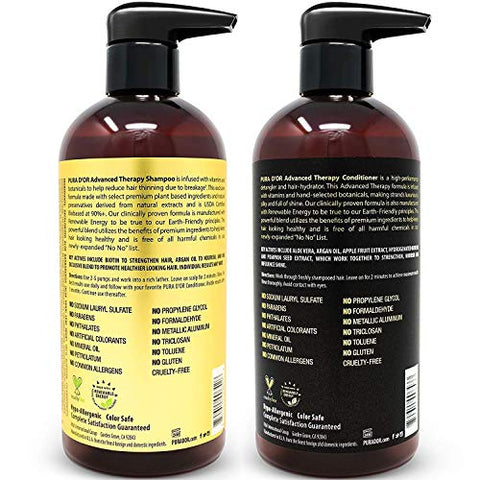 Pura D'or Advanced Therapy System Shampoo & Conditioner   Increases Volume, Strength And Shine, Sulf