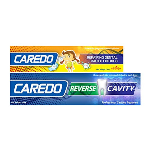 CAREDO Toothpaste Treatment Cavities Sets, The ONLY Toothpastes to Cure Tooth Decay Repairing Dental Caries, Adult 1 Tube Kids 1 Tube