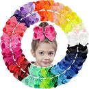 Image of 30Pack 6in Grosgrain Ribbon Hair Bows Baby Girl's Clips Large Big Hair Bows Clips For Baby Girls Teens Toddlers