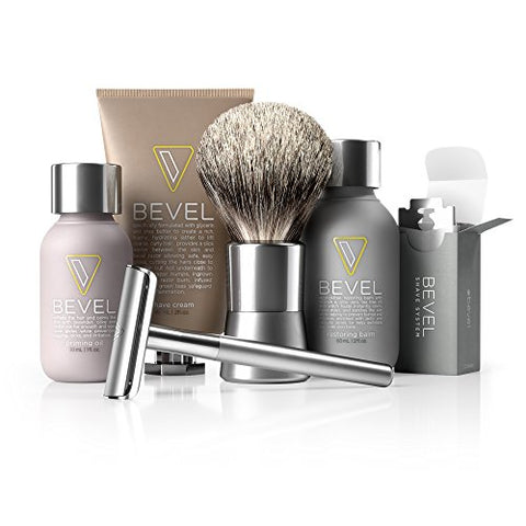 Bevel Shave Kit   Starter Kit, Great As Father's Day Gift, Includes Safety Razor, Shave Creams, Oil,
