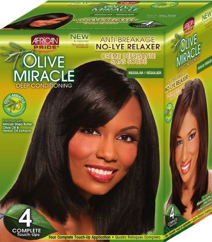 African Pride Olive Miracle Deep Conditioning No-Lye Relaxer - Regular Kit 4-Count