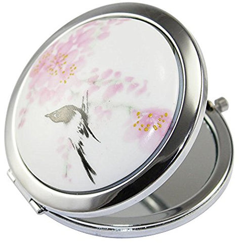 KOLIGHT Double Sides (One Is Normal,another Is Magnifying) portable Foldable Pocket Metal Makeup Compact Mirror Woman Cosmetic Mirror (Flower+Black Bird)