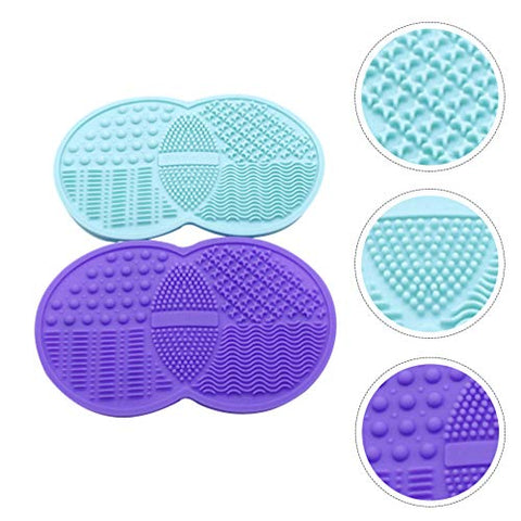 Minkissy 2pcs Makeup Brush Cleaning Mat Brush Cleaner Pad Cosmetic Brush Scrubber Mat Cleaning Tool (Random Color)