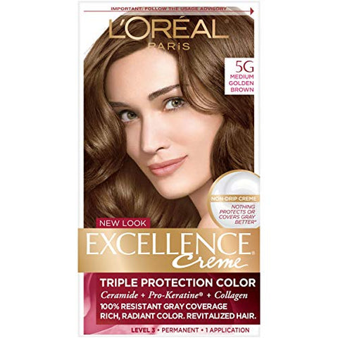 L'Oreal Excellence Triple Protection Color Creme, Medium Golden Brown/Warmer 5G (Pack of 3)