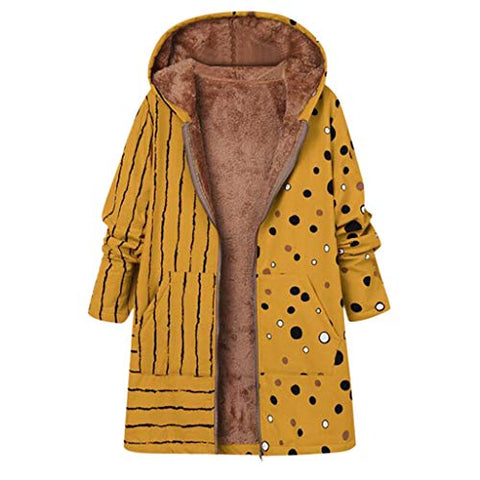 Xinantime Womens Thicker Zipper Hooded Coat Outwear Plus Size Winter Warm Printed Pockets Fleecy Outercoat(Yellow,XXXL)