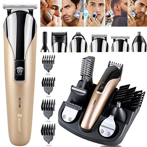 LUBANC 6 in 1 Multifunctional Barber Electric Hair Clipper Rechargeable Hair Cutter Machine Men Hair Trimmer for Beard Nose Eyebrow Ear