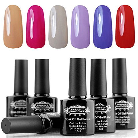 Perfect Summer Gel Nail Polish Soak Off 6 Colors Gel Varnish UV LED Manicure - Gel Polish Starter Kit 10ML 016