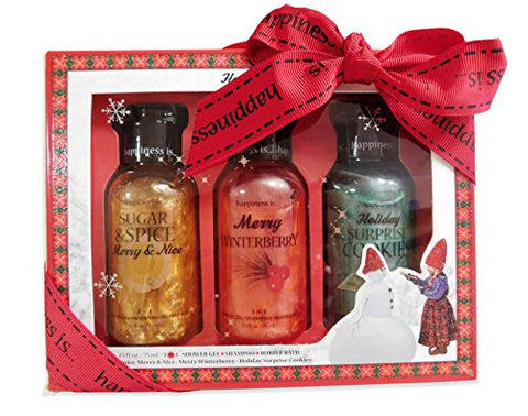 Happiness Is Christmas 3 in 1 Shower Gel Bubble Bath Gift Set - 3 X 2.5 fl. oz.