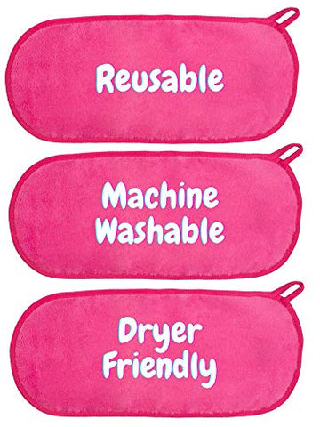 RAINBOW ROVERS Set of 3 Makeup Remover Cloths | Makeup Towel | Suitable for All Skin Types | Reusable & Ultra fine Makeup Wipes | Removes Makeup with just Water | Hot Pink
