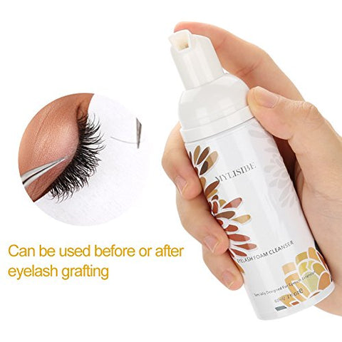 Eyelash Extension Cleanser, Professional Eyelash Shampoo Foam Wash Cleaner to Remove Makeup Residue and Mascara, Tear Free Formula for Daily Use