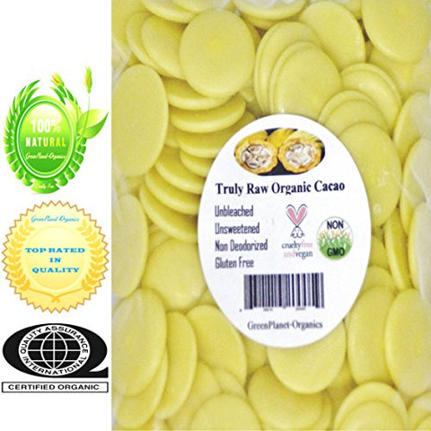GMO Free Certified Organic Cocoa Butter Melts 3 LBS (100% Vegan, Raw, Unbleached & Non Deodorized)