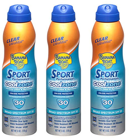 Banana Boat Sport Performance Sunscreen - SPF 30, 6 FZ (Pack of 3)