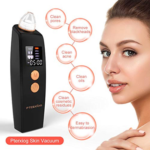 Blackhead Remover Vacuum, Pterxiog Electric Pore Vacuum Sucker, Blackhead Comedone Acne Removal Suction Extractor Tool, Facial Pore Cleaner with LCD Display Timer Function, Wireless Rechargeable