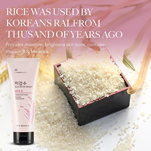 [Thefaceshop] Rice Water Bright Foaming Cleanser With Rice Bran For Removing Dead Skin, Hydrating An