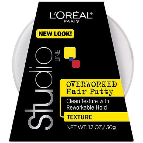 L'Oreal Paris Studio Line Overworked Hair Putty, 1.7 Ounce (Pack of 5)
