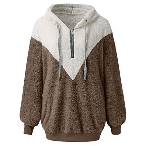 Willow S Women's Two-Tone Geometric Mosaic Plush Sweatshirt Loose Hooded Drawstring Long-Sleeved Fleece Soft Warm Coat Brown