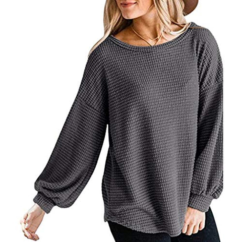 HHoo88 Women's Long Sleeve Waffle Top Sweatshirt O Neck Oversized Sweater Pullover Blouse Dark Gray