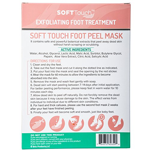 Soft Touch Foot Peel Mask, Exfoliating Callus Remover (2 Pairs Per Box) Cracked Heels, Dead Skin Tre