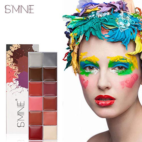 Minkissy 12 Colors Cosmetics Face Body Painting Pigment Oil Art Makeup Greasepaint Party Fancy Cosplay Makeup Palette Kit