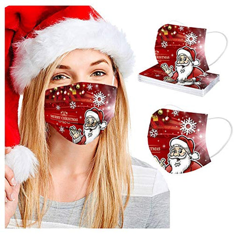 Sagton 10pcs Christmas Disposable Face_Masks for Adults 3 Layers Earloop & Nose Wire Disposable Face_Masks with Christmas Theme for Dust, Air Pollution B:10PCS