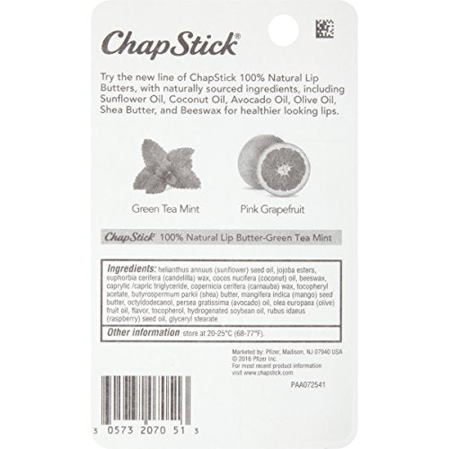 ChapStick 100% Natural Lip Butter Carded Pack, Green Tea Mint, 0.15 Ounce