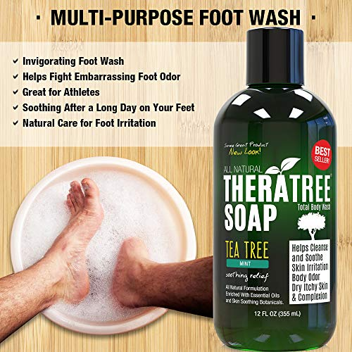 Thera Tree Tea Tree Oil Soap With Neem Oil   12oz   Helps Skin Irritation, Body Odor, Helps Restore H