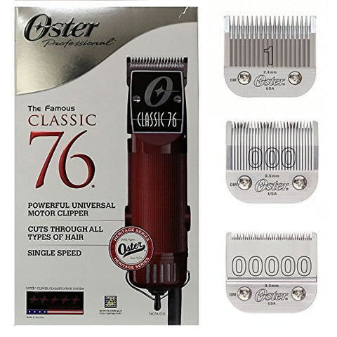 New Oster Classic 76 Hair Clipper 2 Blades (Blades Sizes Are 000,1)