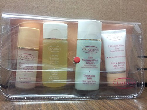 Clarins 4 Piece Set Includes Serum , Lotion Cleansing Milk & Extra Firming Day Cream