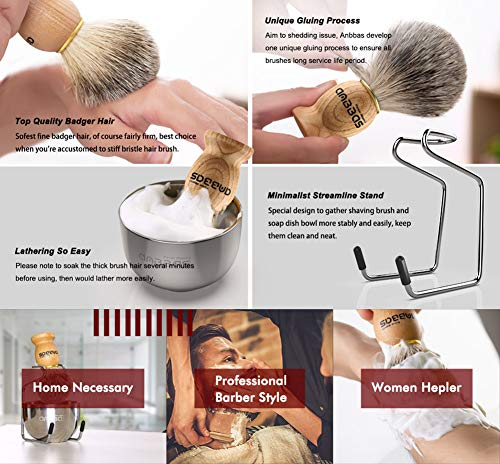 "Shaving Set, 3in1 Pure Badger Hair Shaving Brush Natural Solid Wood Handle and Stainless Steel Shaving Stand with Shaving Bowl Dia 3.2"" for Men Wet Shaving by Anbbas"