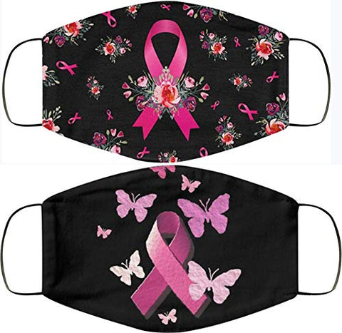 Breast Cancer Awareness Faith Hope Love Pink Ribbon Face Bandanas, Owill Reusable Washable Bandanas Breast Cancer Gifts (Combo g/2PC)