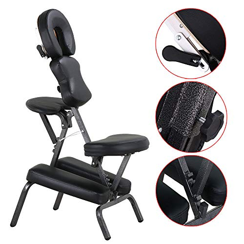 Selva Portable PU Leather Pad Travel Massage Tattoo Spa Chair w/Carrying Bag Black | Solid Structure Lightweight Compact Strong Heavy Duty 220Lbs Capacity | For Body Building Exercise Home Gym Office