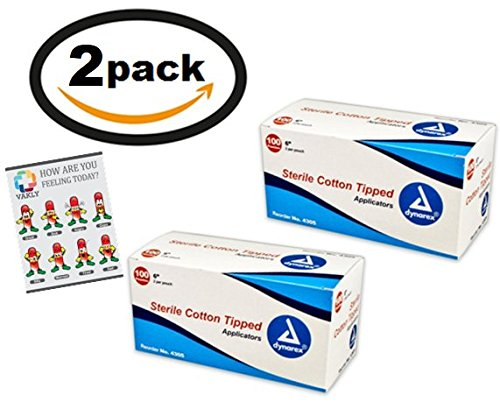 "200 Sterile 6"" Cotton Tip Applicator 2 Boxes Of 100 Packs Of 2   Plus Vakly First Aid Kit Guide"