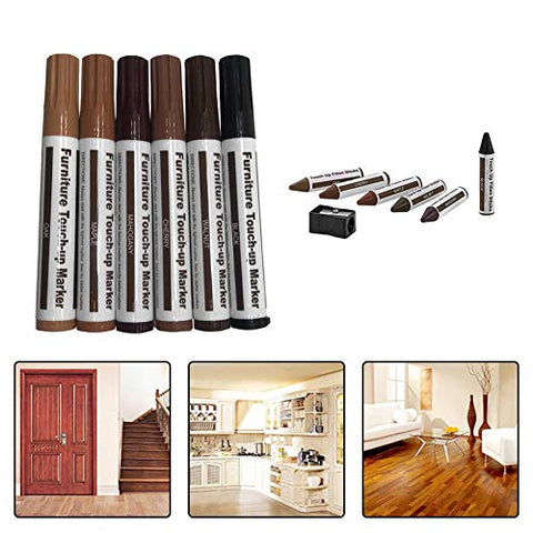 Summeishop Scratch Repair Pen Wood Repair Markers Grain Color Paper Wrapped Wax Sticks for Furniture Floor Astonishing