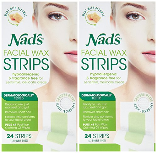 Nad's Facial Wax Strips (Pack Of 2)   Hypoallergenic All Skin Types   Facial Hair Removal For Women
